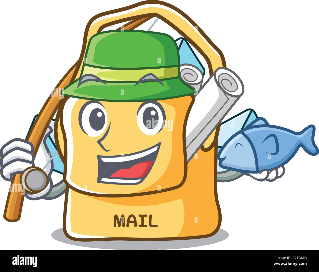 Fishing mail bag character on table front - Stock Image