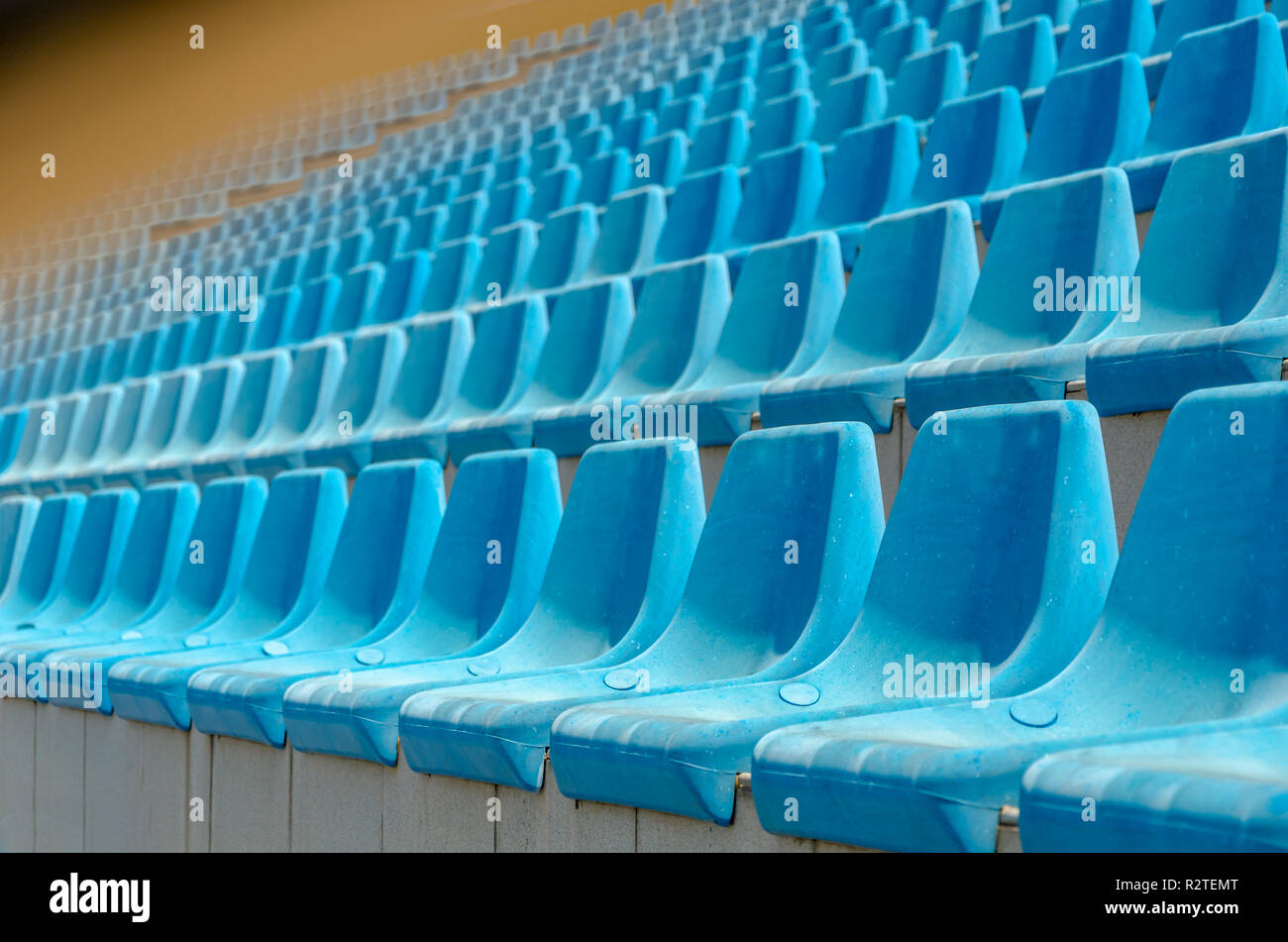 Empty blue stadium seats, - Stock Image