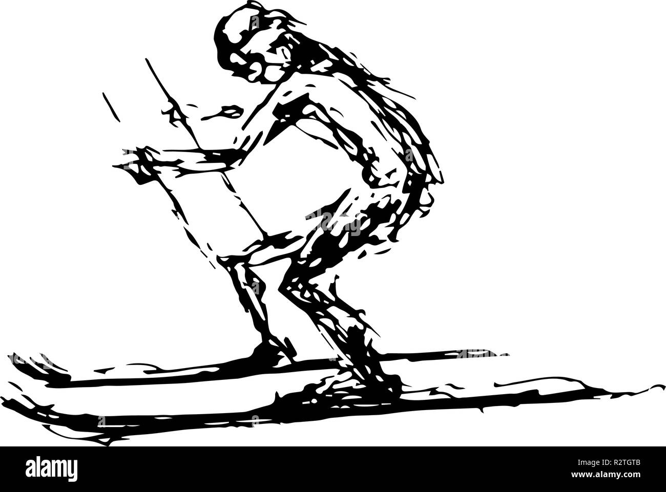 Black and white abstract vector drawing of a skiing man. - Stock Image