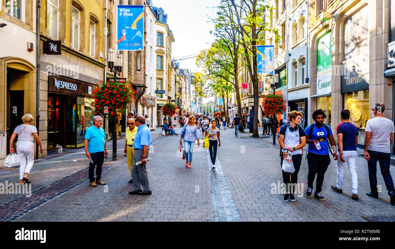 Grand Rue shopping street in the heart of the famous and touristic city of Luxembourg - Stock Image