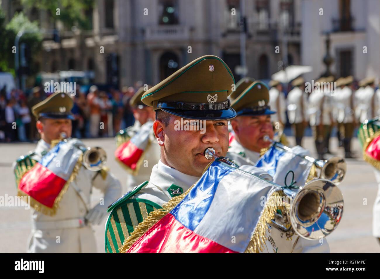 SANTIAGO, CHILE - NOV 5, 2018:  Canabineros play trumpet at the ceremonial changing of the guard at Palacio de la Moneda - Stock Image