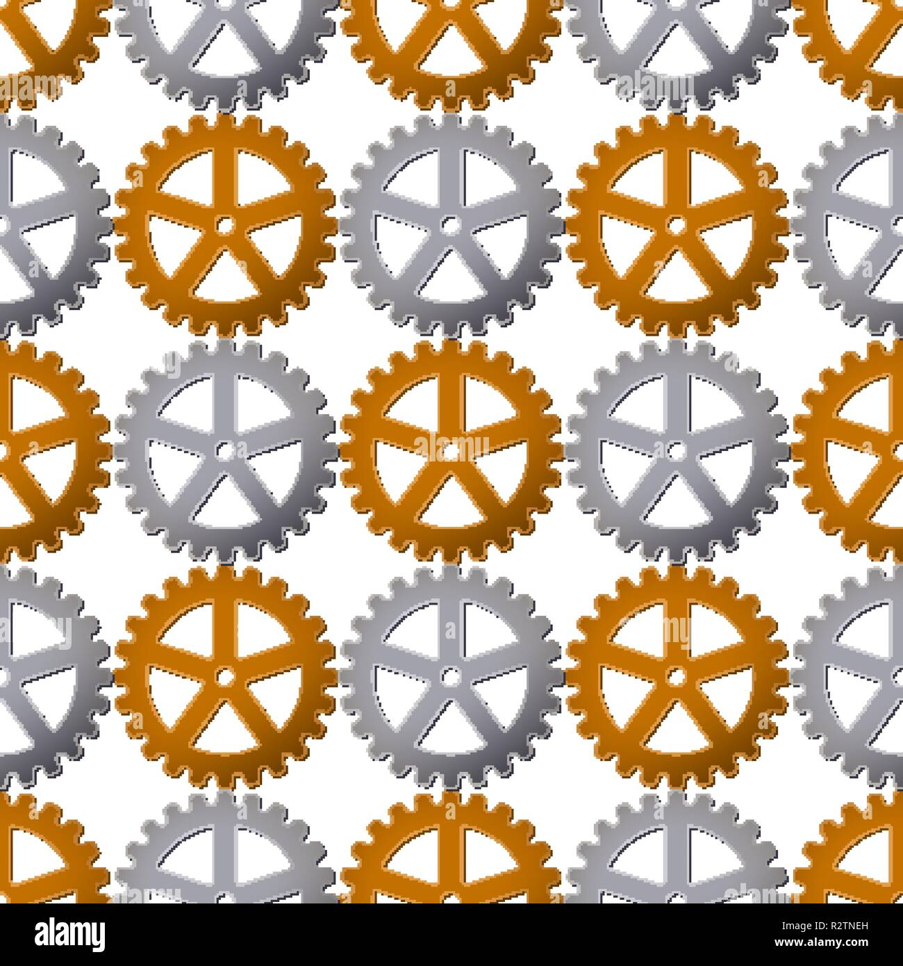 Seamless pattern background with gears. Vector illustration. Clockwork design. - Stock Vector