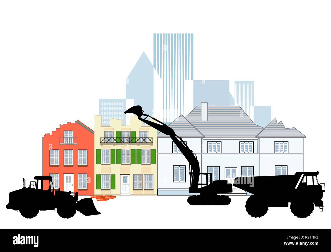 demolition work - Stock Image