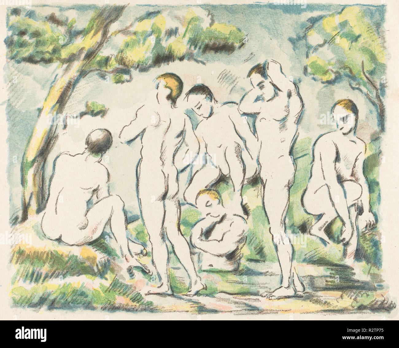 The Bathers (Small Plate). Dated: 1897. Dimensions: overall: 23.6 x 29.1 cm (9 5/16 x 11 7/16 in.). Medium: color lithograph on china paper. Museum: National Gallery of Art, Washington DC. Author: PAUL CEZANNE. CEZANNE, PAUL. - Stock Image