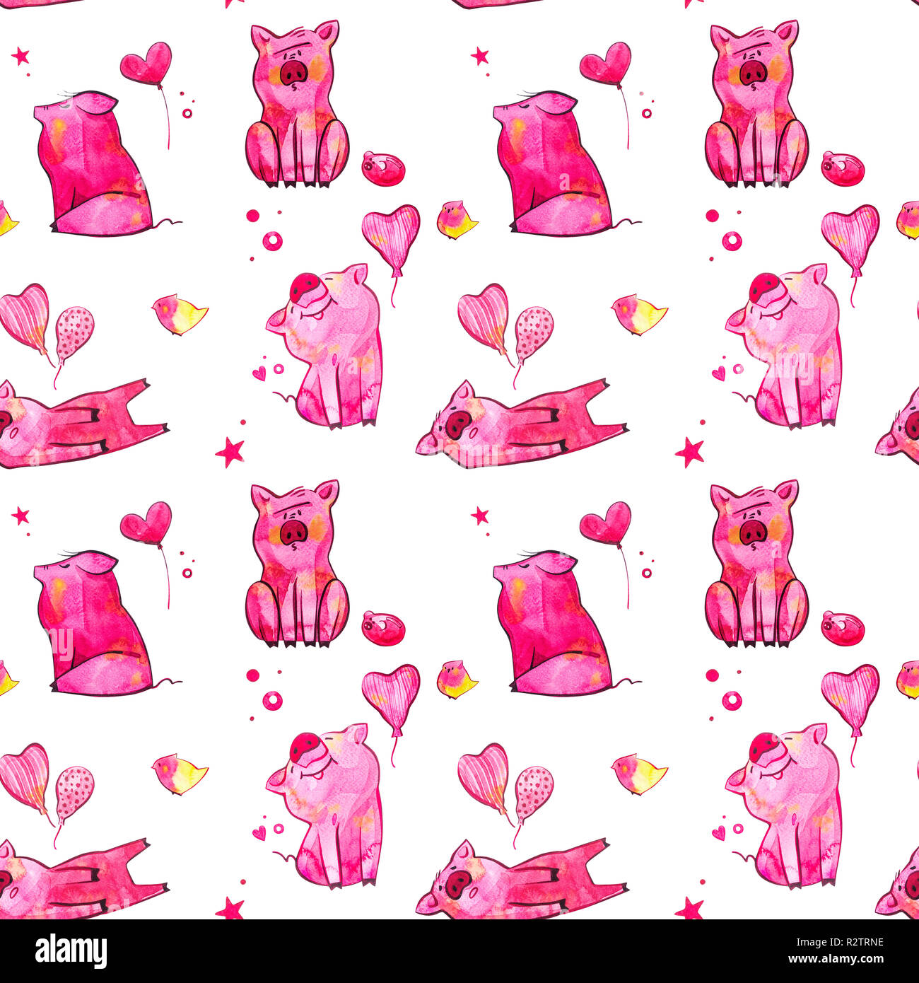 Cute pig seamless pattern  Symbol of the year in the Chinese