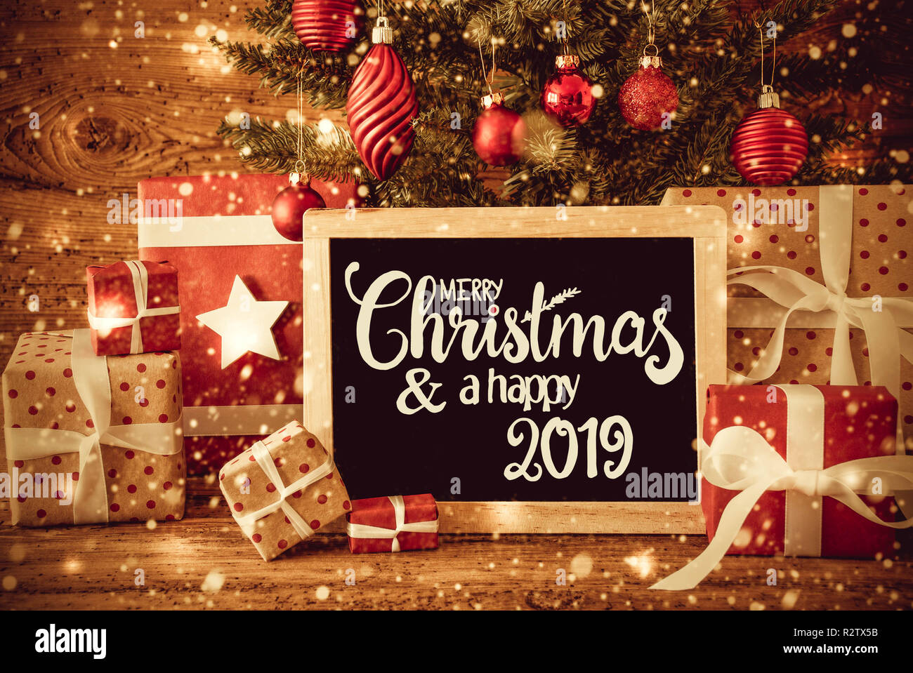Merry Christmas 2019.Bright Tree Gifts Calligraphy Merry Christmas And A Happy