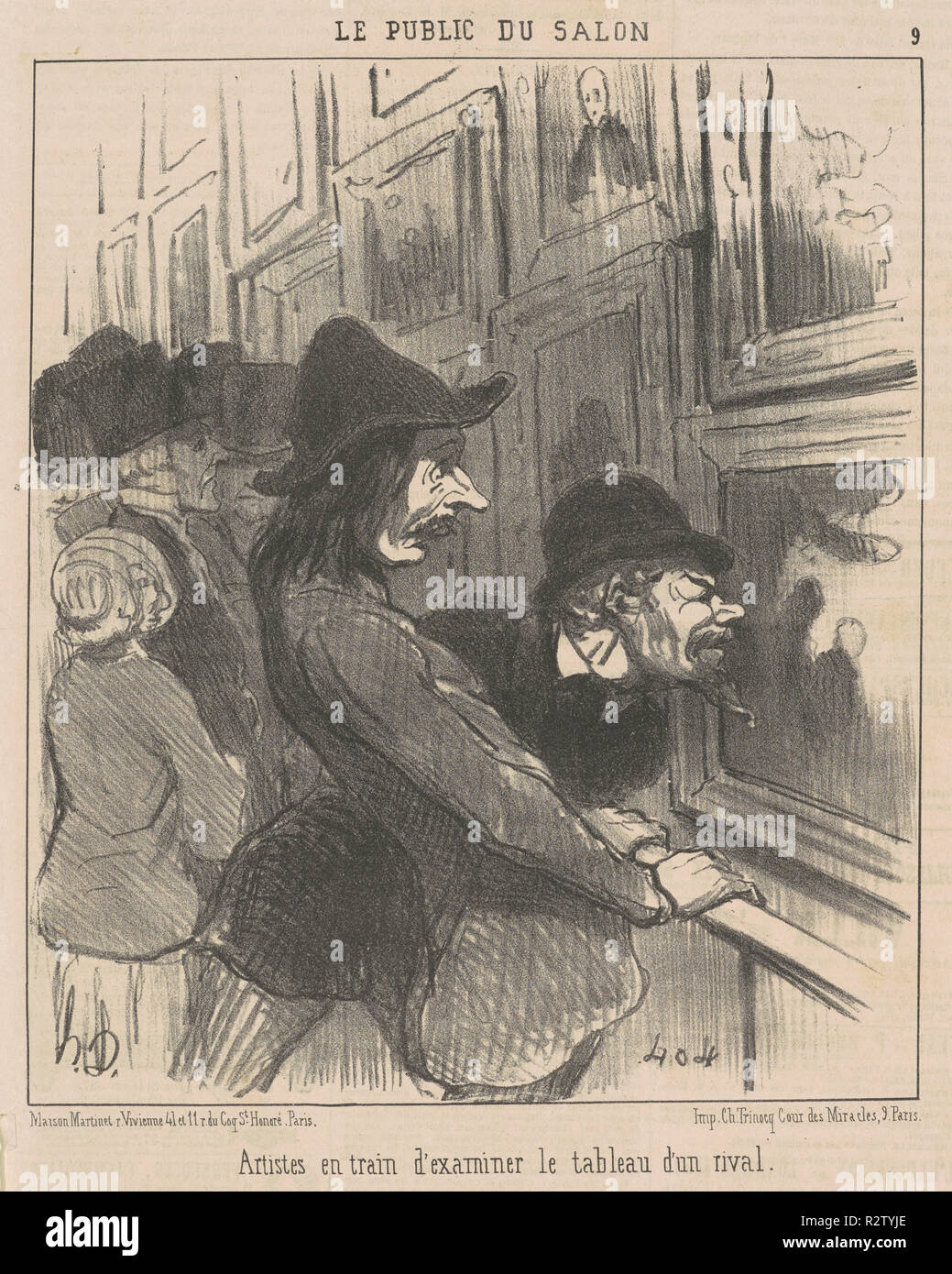 Artistes en train d'examiner ... Dated: 19th century. Medium: lithograph. Museum: National Gallery of Art, Washington DC. Author: HONORÉ DAUMIER. - Stock Image