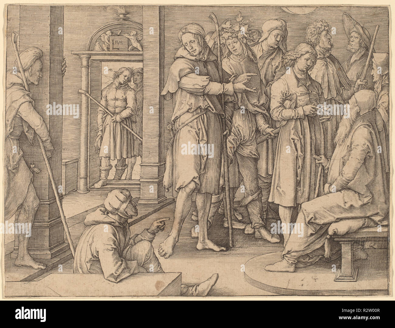 Joseph Interprets His Dream to Jacob. Dated: 1512. Medium: engraving. Museum: National Gallery of Art, Washington DC. Author: LUCAS VAN LEYDEN. - Stock Image