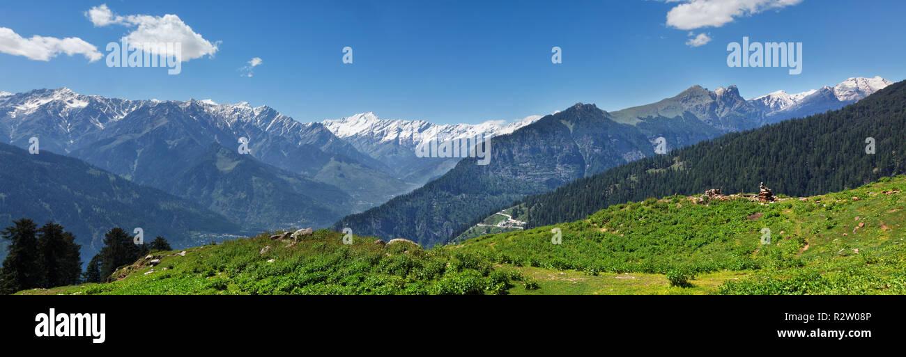 Panorama of Himalayas, India - Stock Image