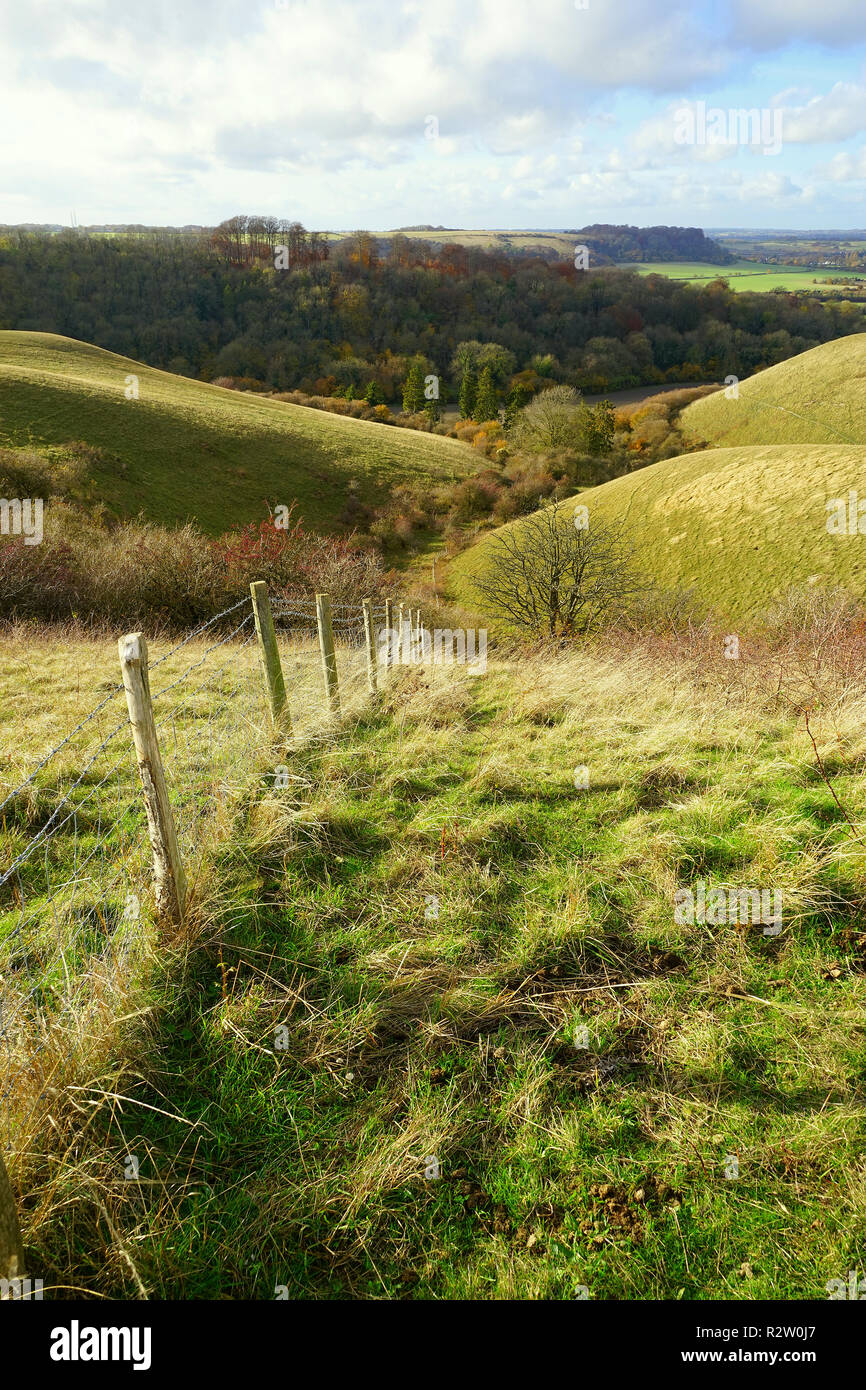A fence disappears down a hill on the Barton Hills Nature Reserve, Bedfordshire - Stock Image
