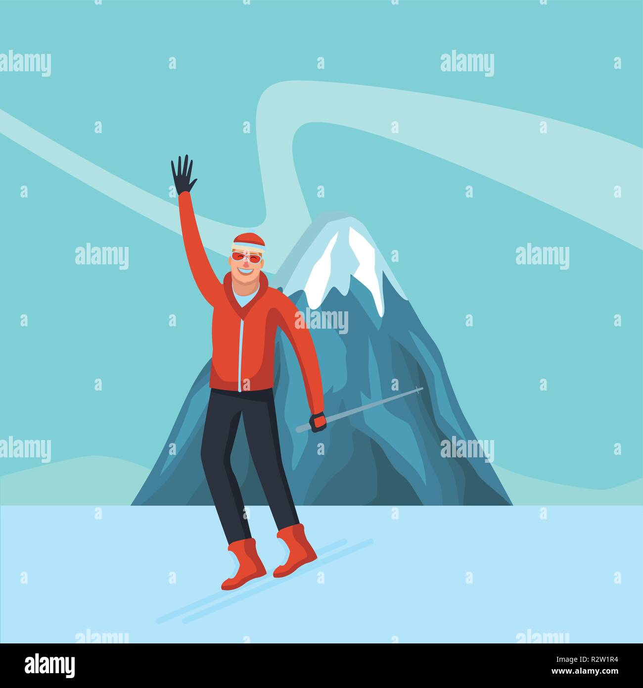 0ce0ca99c3 Happy man in winter clothes over mountain with snow vector illustration  graphic design