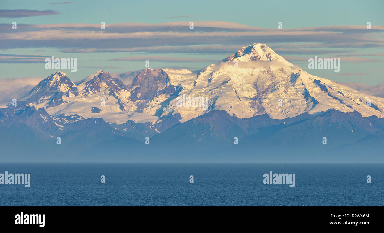 A view of the Chigmit Mountains, the northeastern section of Aleutian Range. The mountains are located across Cook Inlet on the west side of Kenai Pen - Stock Image
