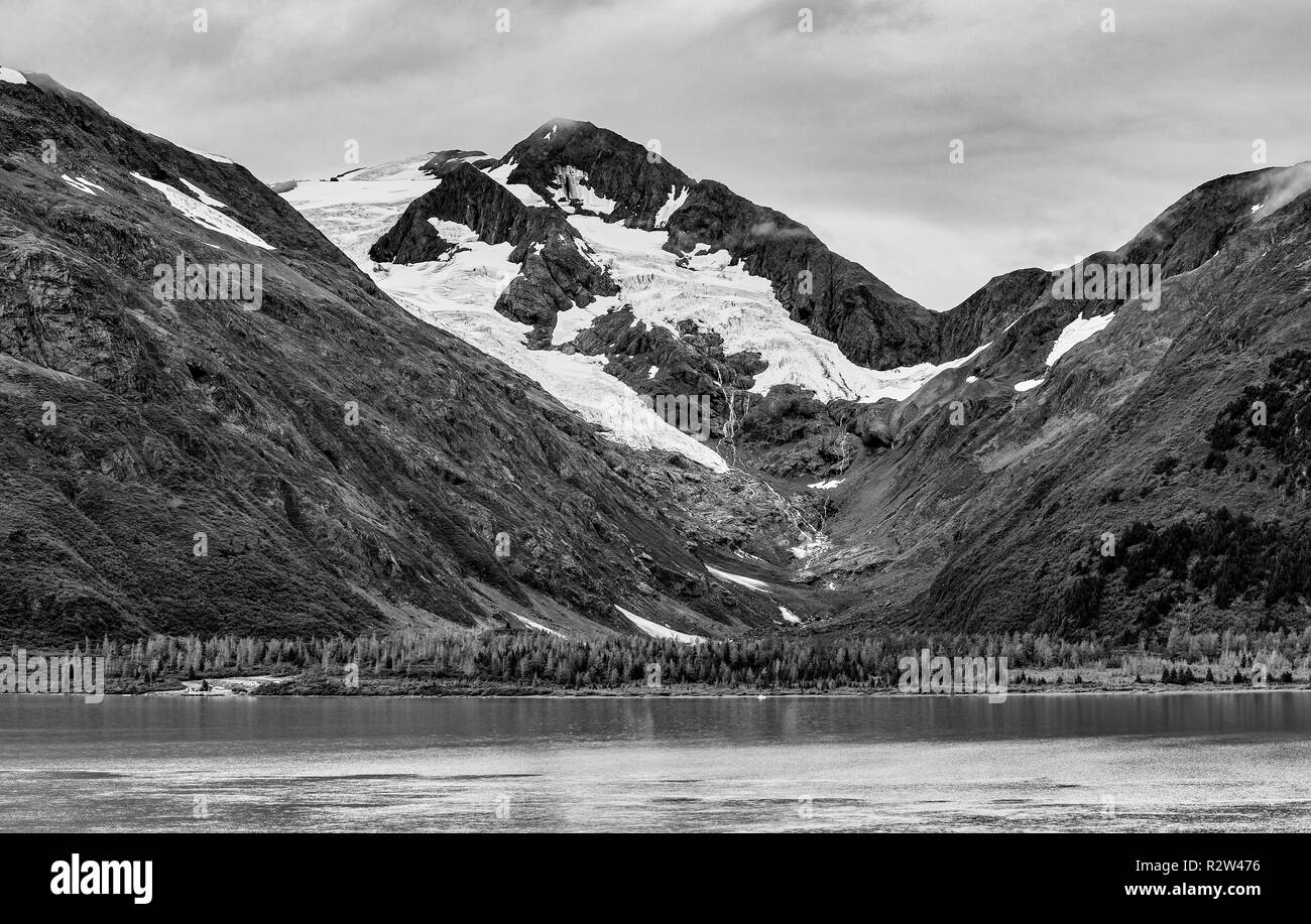 A view of the Portage Glacier and Portage Lake on Kenai Peninsula, Alaska - Stock Image