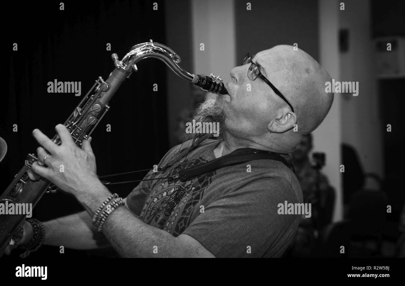 Grammy Award-winning musician Jeff Coffin plays the tenor saxophone during a training session at Joint Base Langley-Eustis, Virginia, Oct. 26, 2018. Coffin is internationally recognized as a member of the Dave Matthews rock band and is also a five-time Grammy Award winning saxophonist, composer and author. - Stock Image