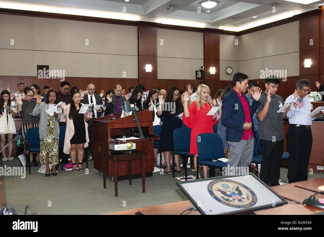 Oath Allegiance Naturalization Ceremony Stock Photos & Oath