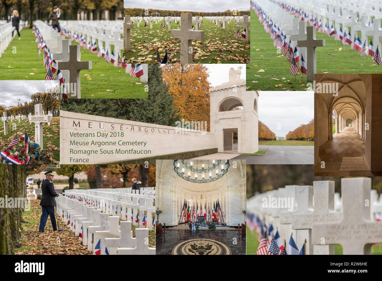 Veterans Day at the Meuse-Argonne American Cemetery, 11 November, 2018. This day also marks the centennial of the end of World War I.  Within the Meuse-Argonne American Cemetery and Memorial in France, which covers 130.5 acres, rest the largest number of our military dead in Europe, a total of 14,246. Most of those buried here lost their lives during the Meuse-Argonne Offensive of World War I - Stock Image