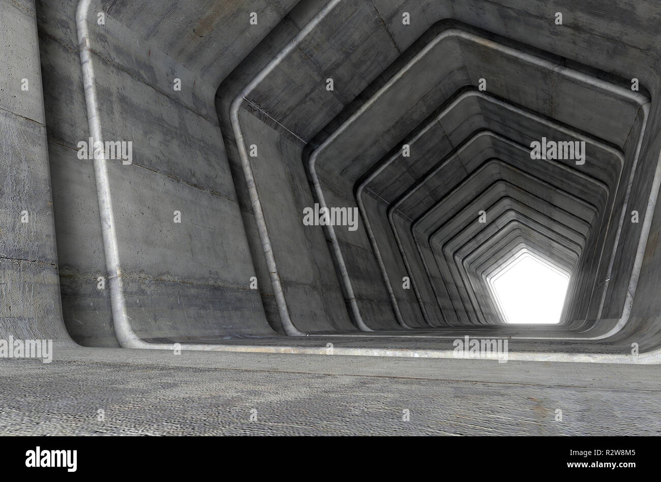 A look down a concrete tunnel made out of pentagonal geometric shapes with a light in the distance at the far end - 3D render Stock Photo