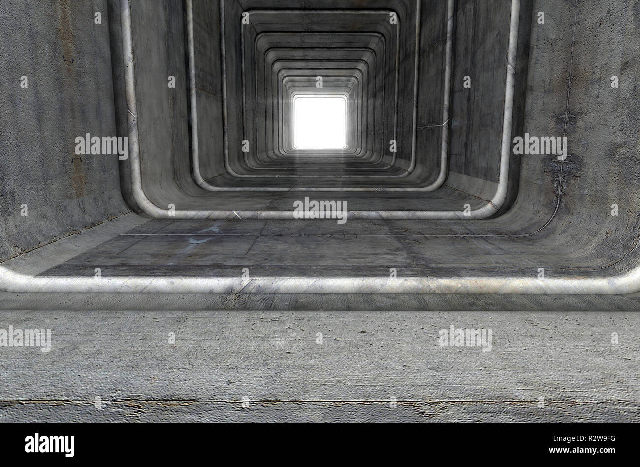 A look down a concrete tunnel made out of square geometric shapes with a light in the distance at the far end - 3D render Stock Photo
