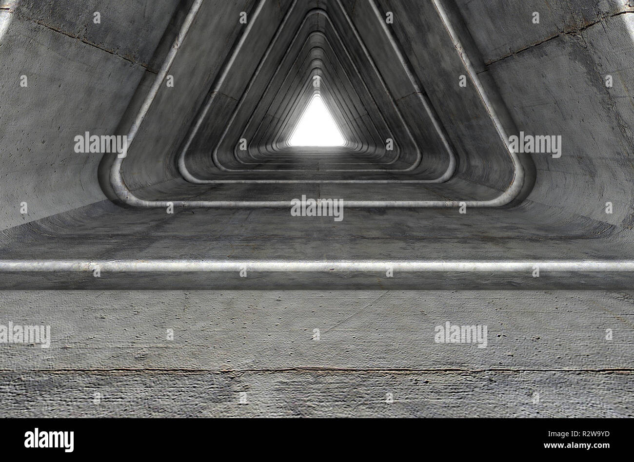A look down a concrete tunnel made out of triangular geometric shapes with a light in the distance at the far end - 3D render Stock Photo