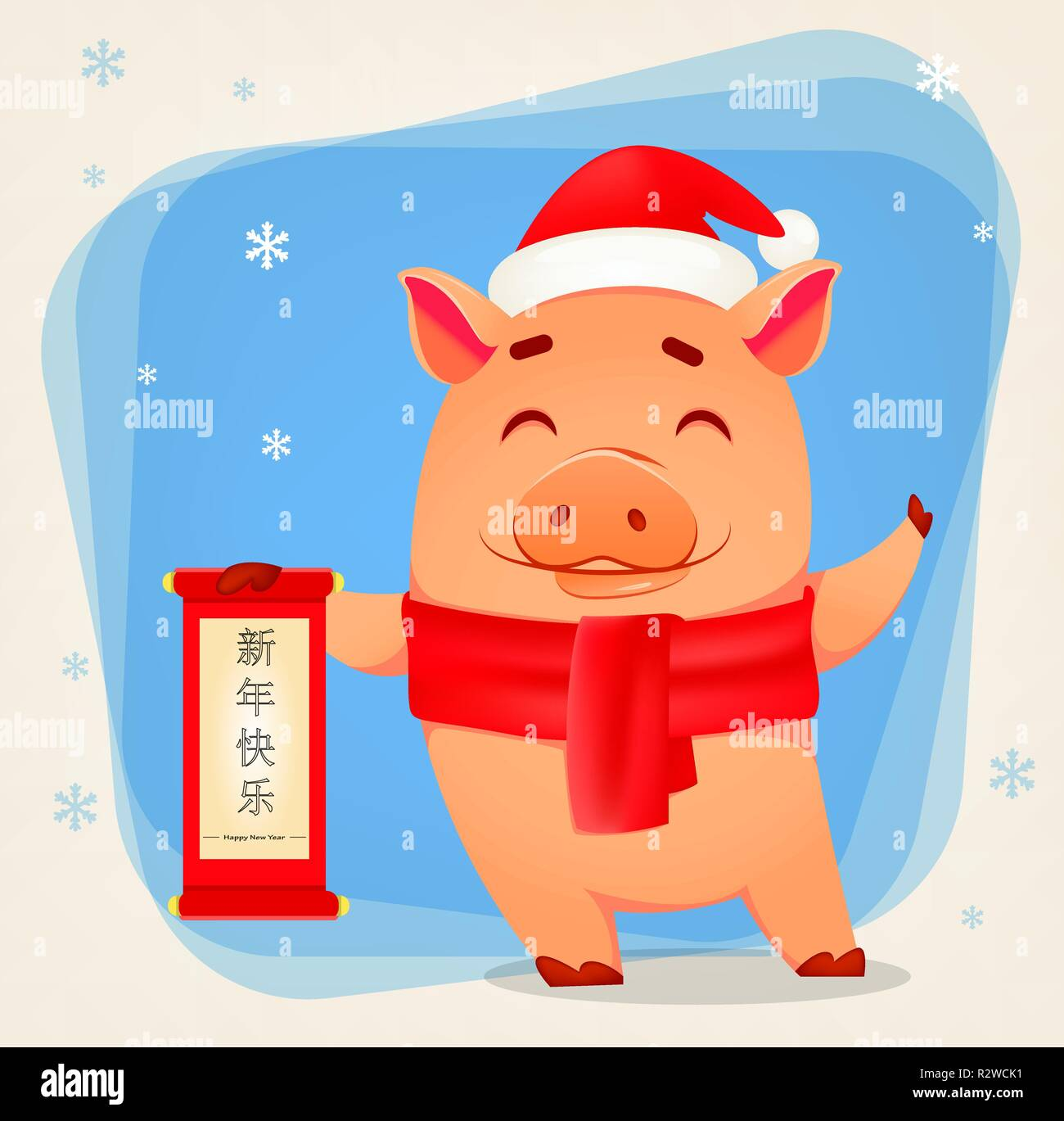 happy new year greeting card cute pig wearing santa claus hat and scarf holds scroll with greetings lettering translated as happy new year vector i