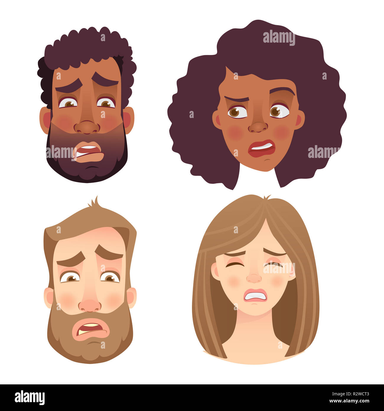 Face of man and woman. Emotions of woman face. Facial expression men illustration - Stock Image