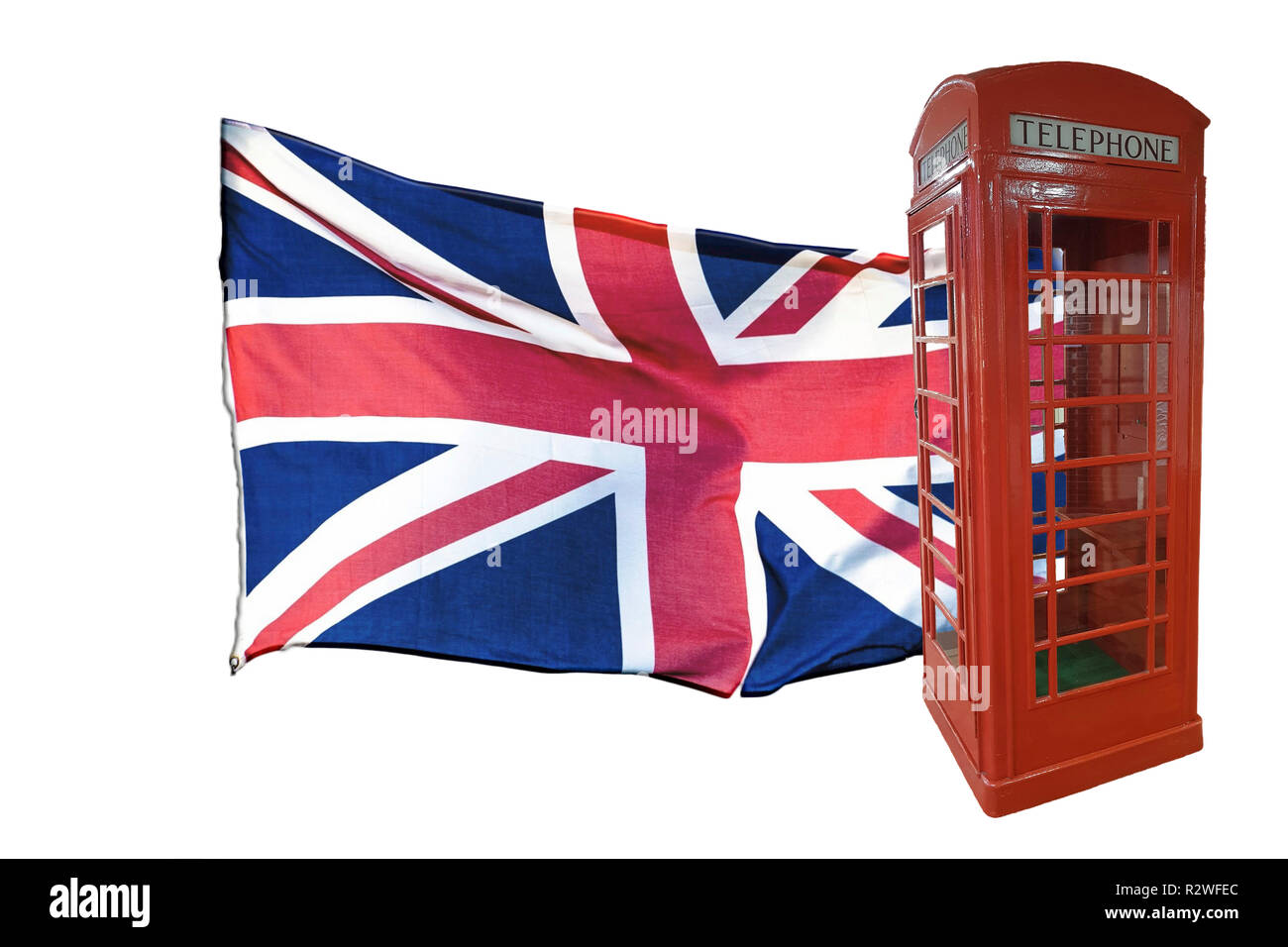 British flag and red telephone box. Isolated white background. Comet travel to the UK - Stock Image