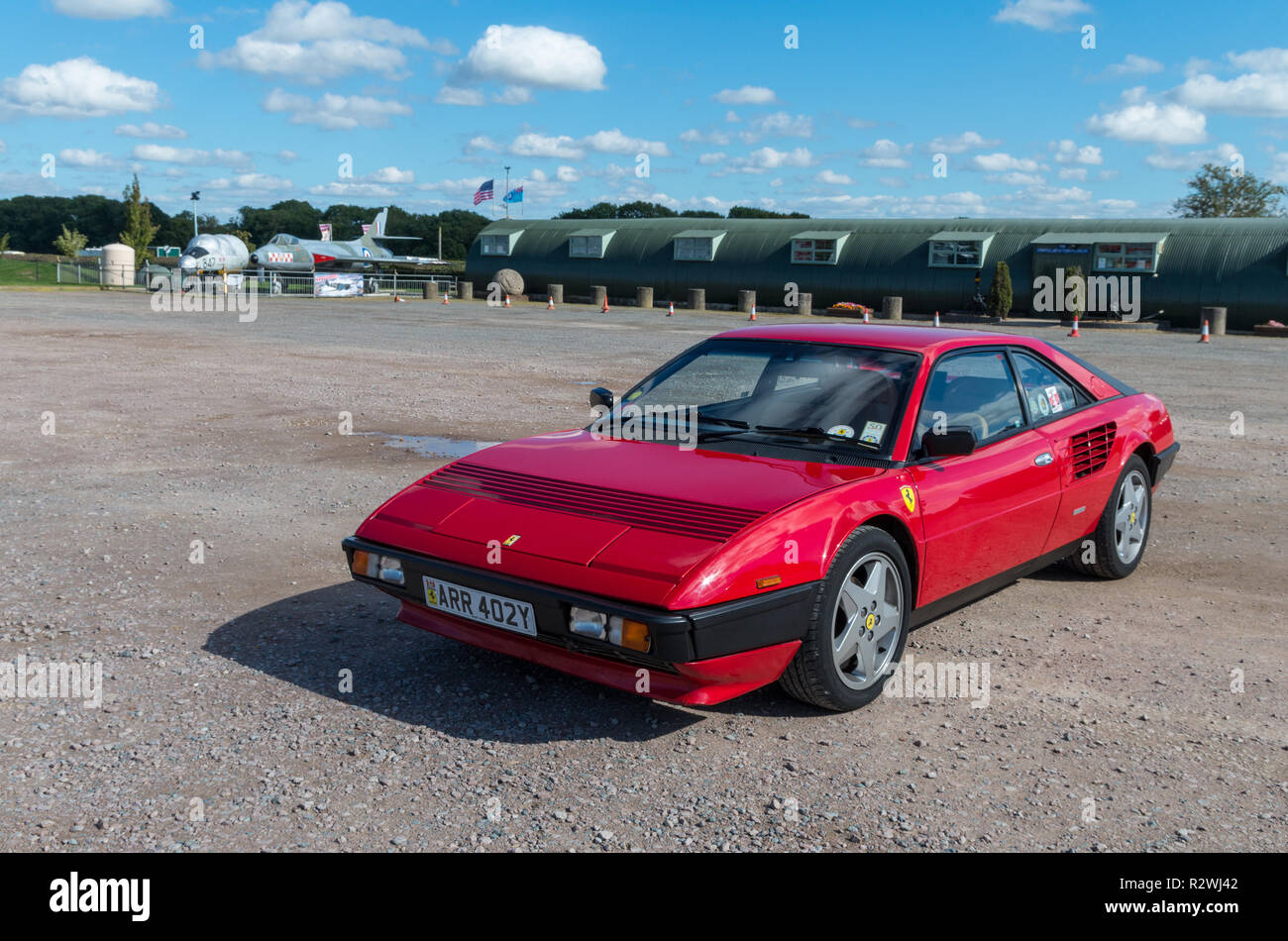 A red Ferrari Mondial, Quattrovalvole, Sywell Aerodrome, Northamptonshire, UK - Stock Image