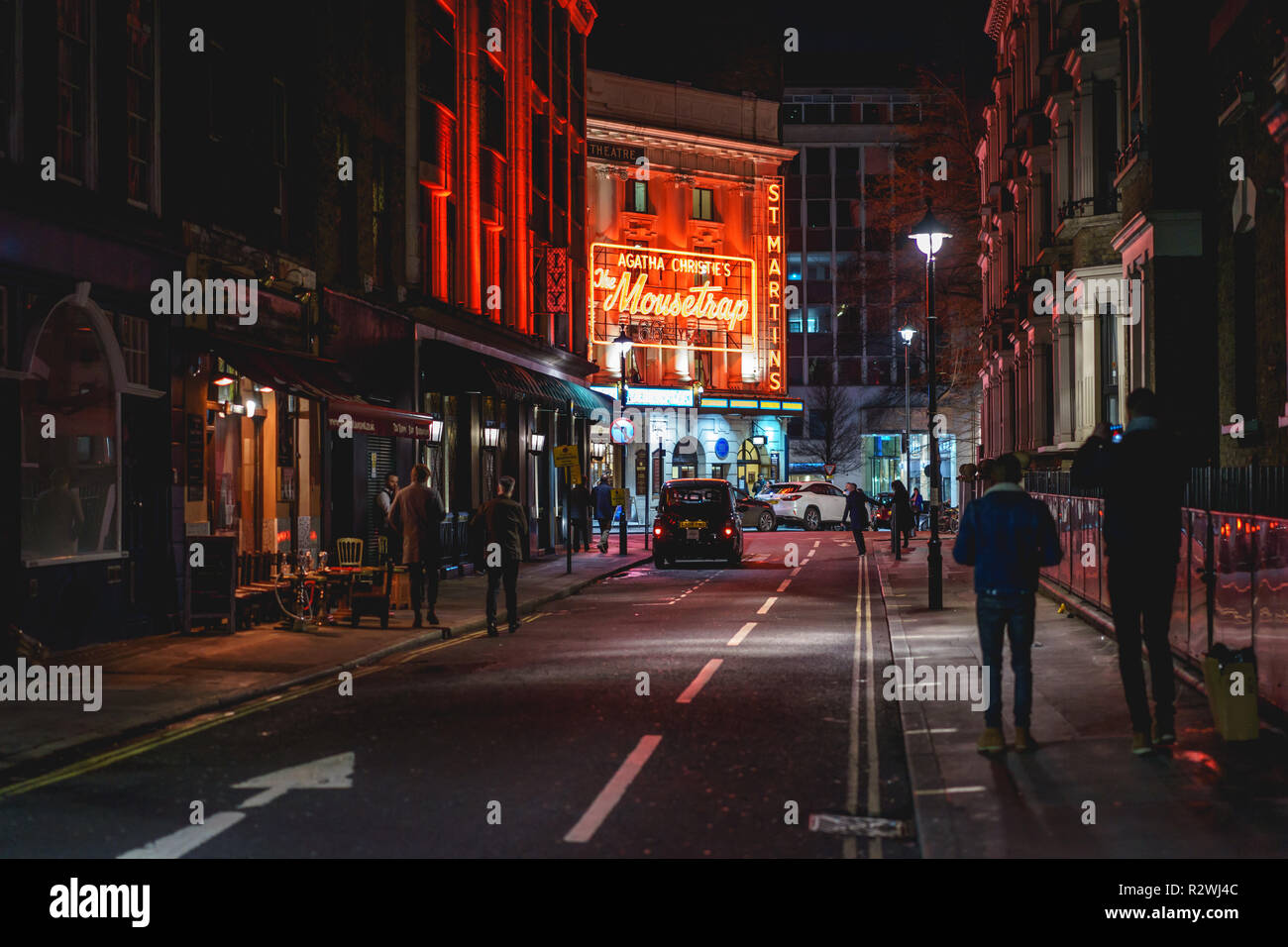 London, UK - February, 2019. A theatre in the West End in central London at night. - Stock Image