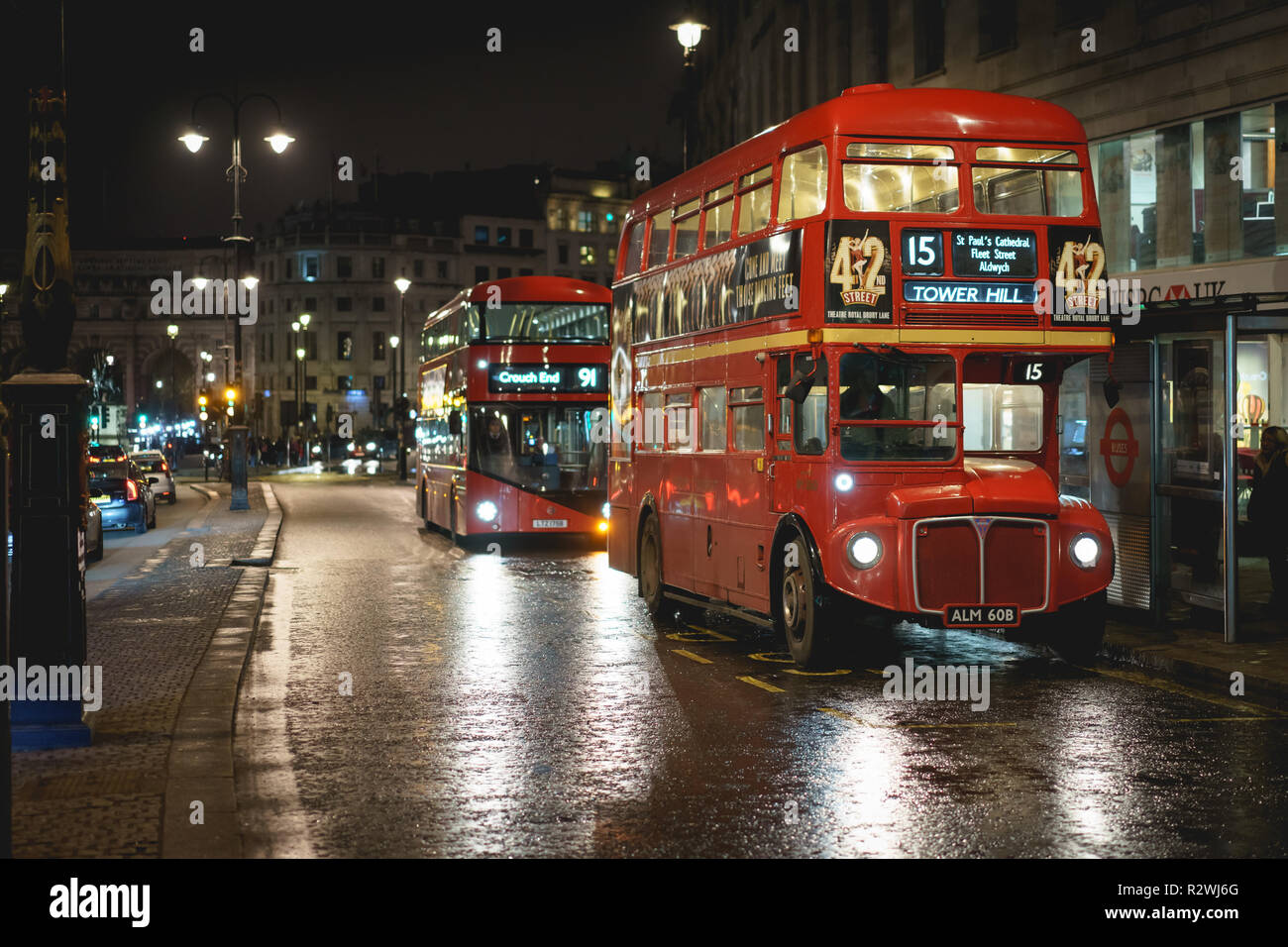London, UK - February, 2019. A vintage red double-decker bus (Routemaster) in a street in central London. - Stock Image