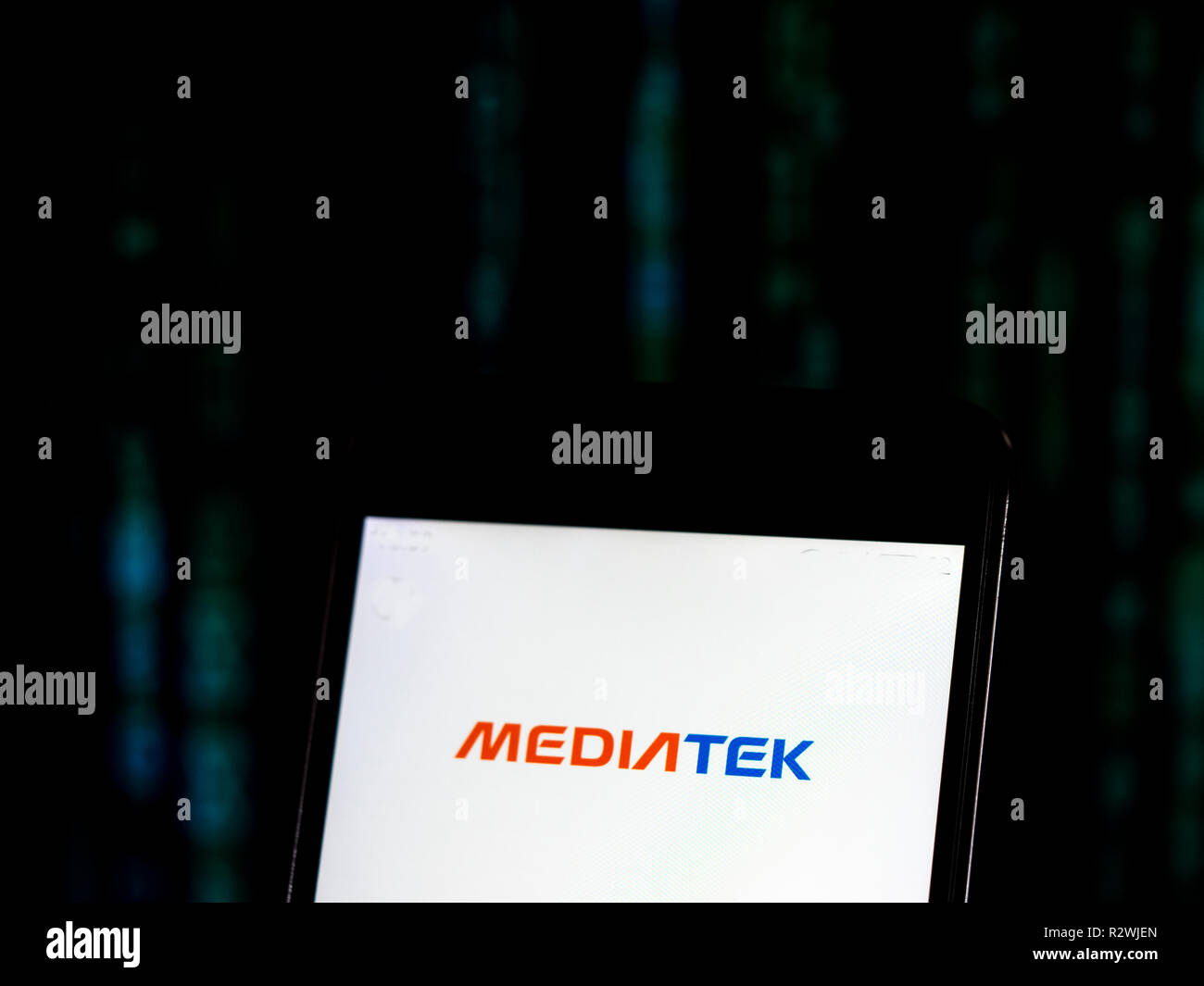 MediaTek Company   logo seen displayed on smart phone. MediaTek Inc. is a Taiwanese fabless semiconductor company that provides chips for wireless communications, High-definition television, handheld mobile devices like smartphones and tablet computers, navigation systems, consumer multimedia products and Digital subscriber line services as well as optical disc drives. - Stock Image