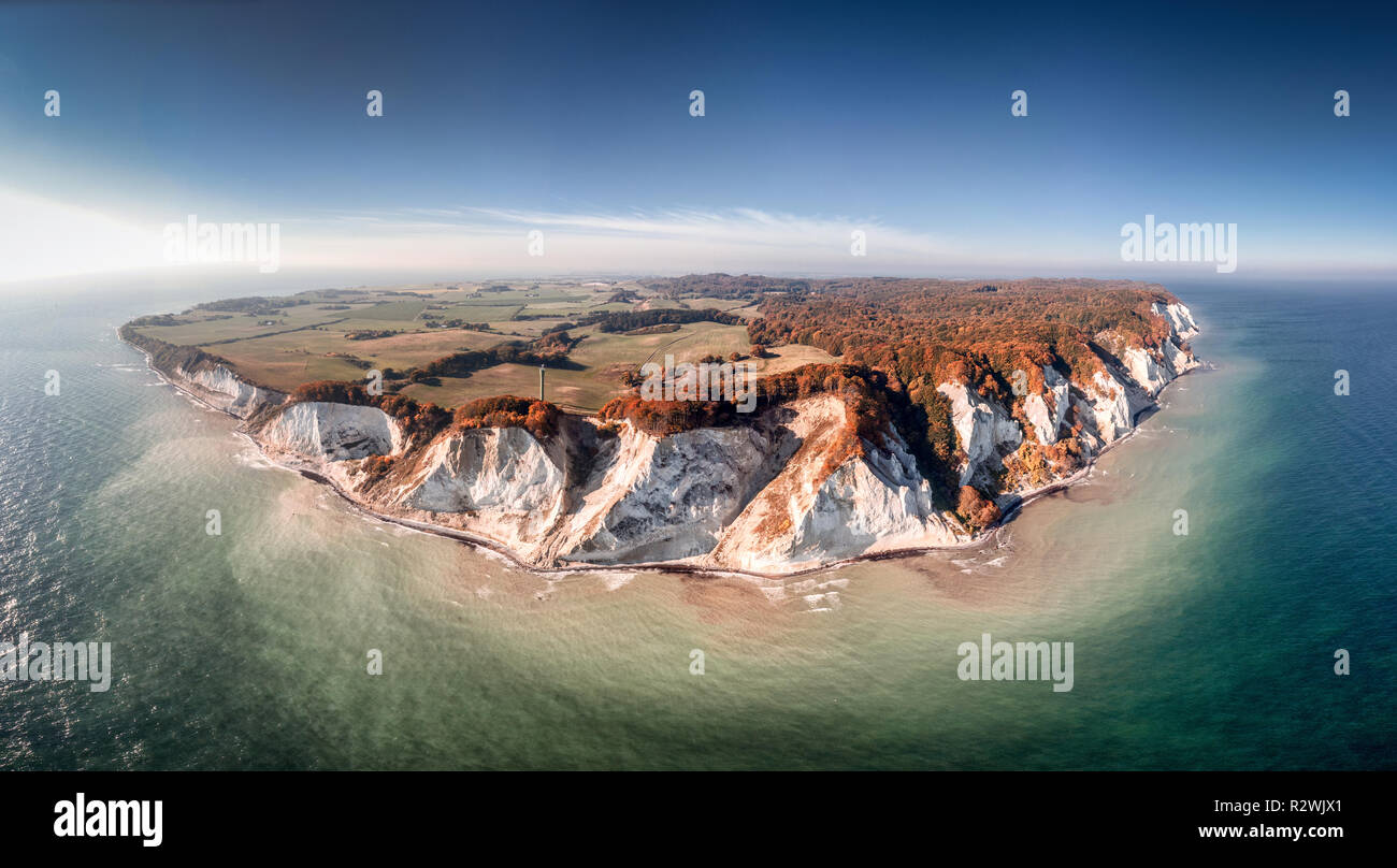 Drone view of the small Danish Island Møn located in the Baltic Sea with its famous chalk cliffs Stock Photo