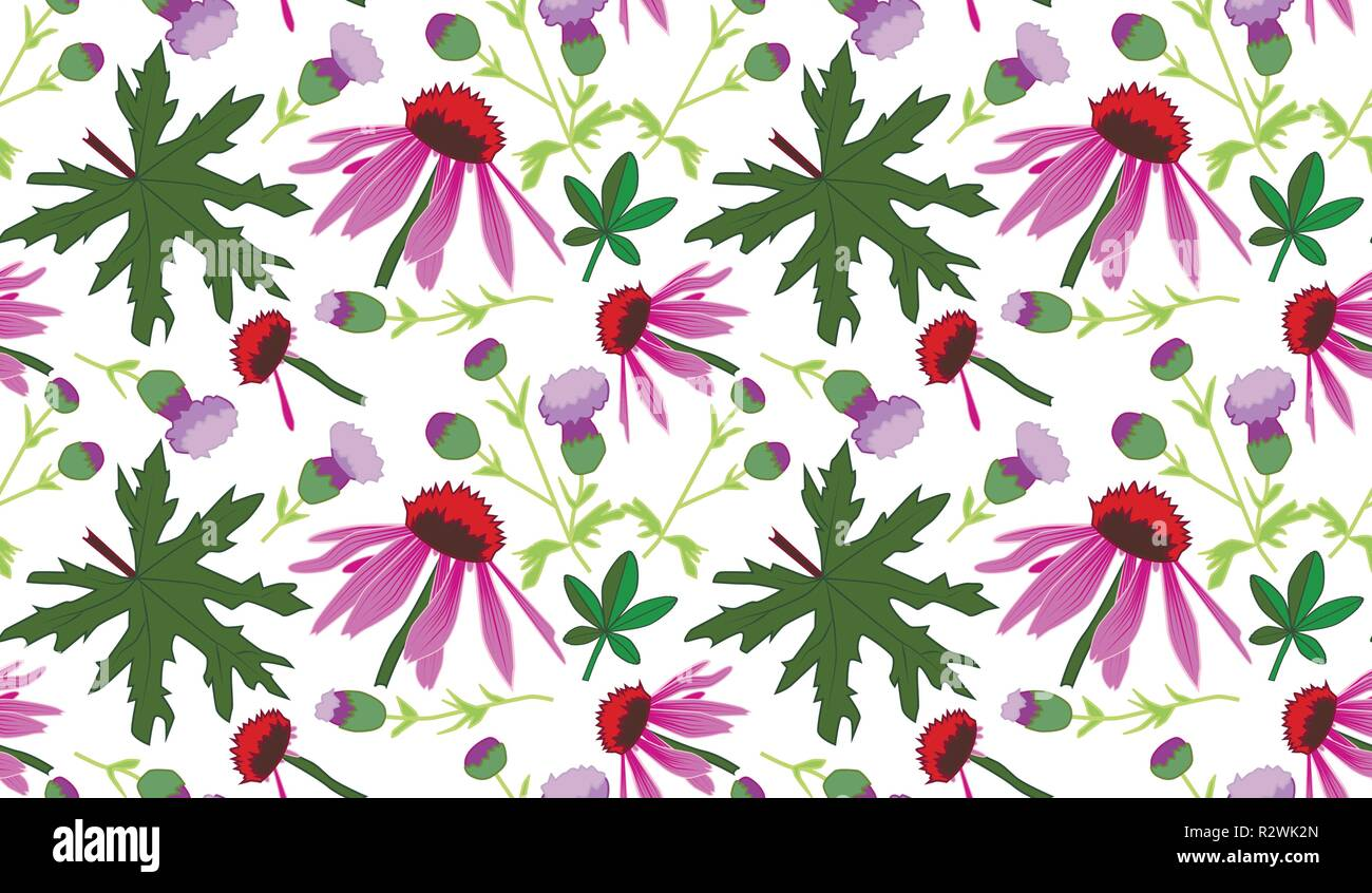 Seamless vector pattern with leaves and pink flowers, transparent background - Stock Image