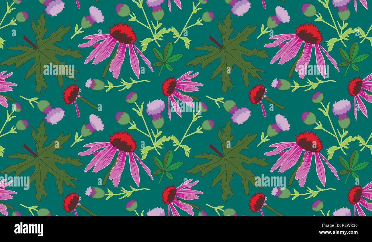 Seamless vector pattern with leaves and pink flowers, green background - Stock Image