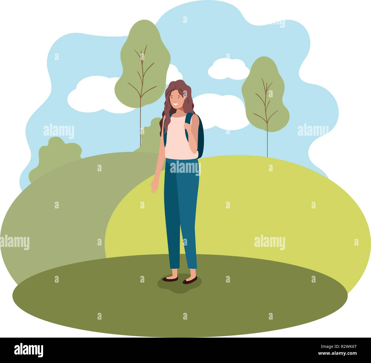 young woman with school bag in the park - Stock Vector