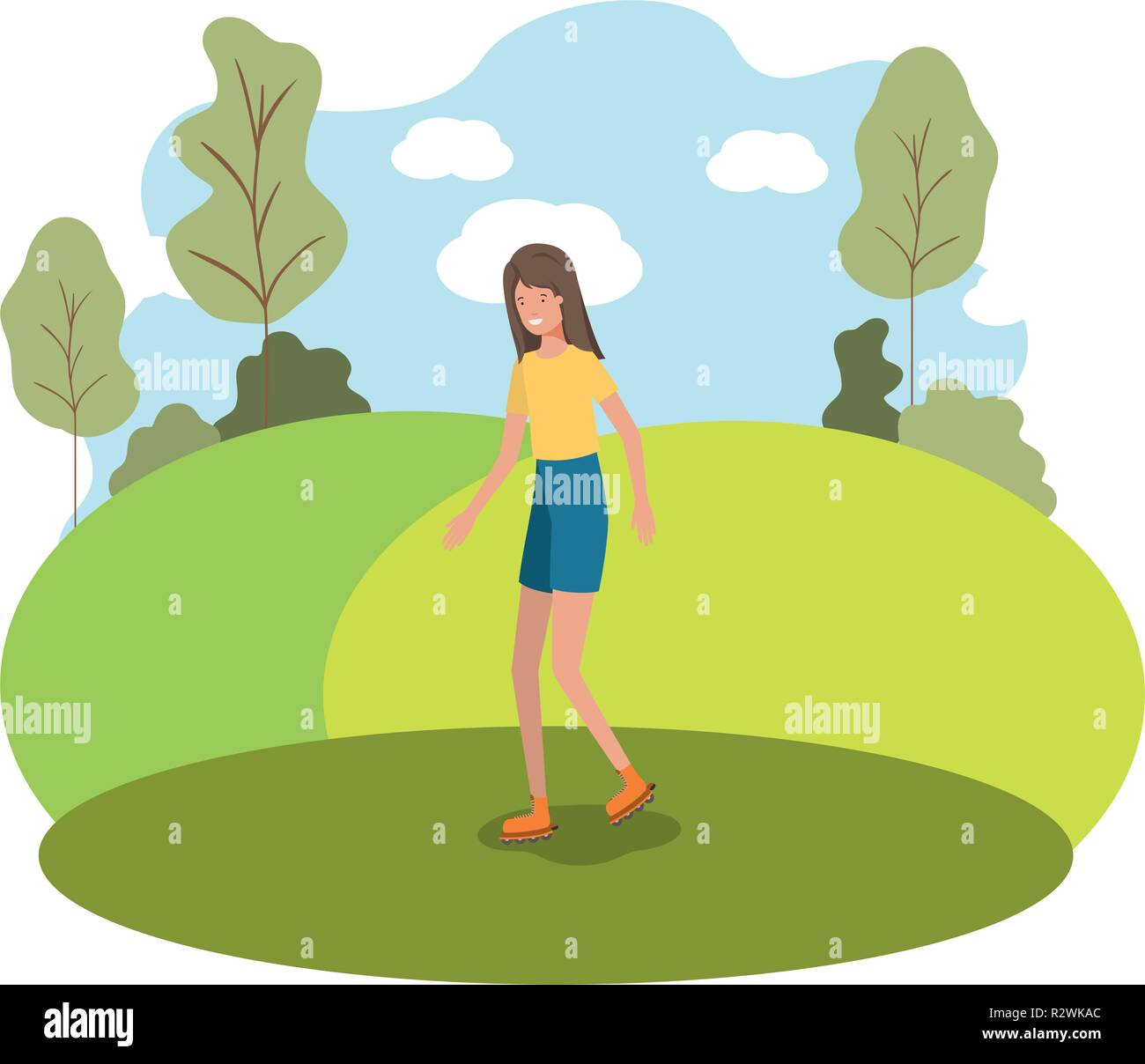 young woman practicing skating in the park - Stock Vector