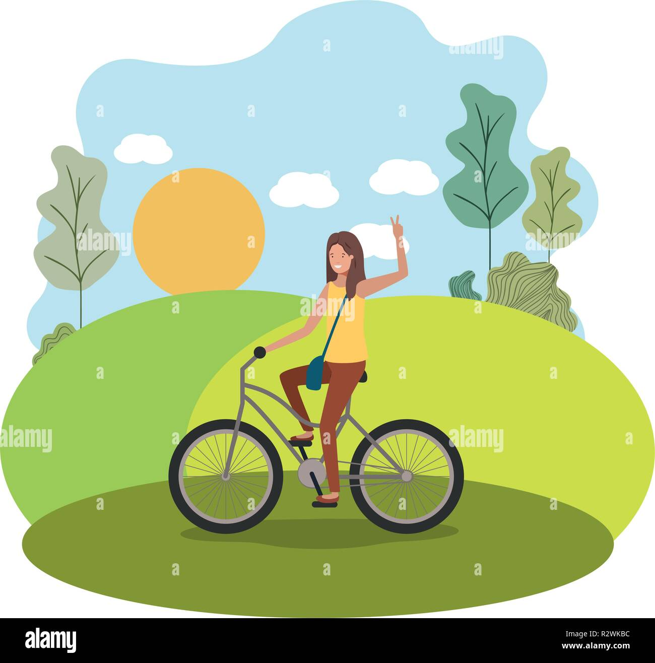 young woman in bicycle on the park - Stock Vector
