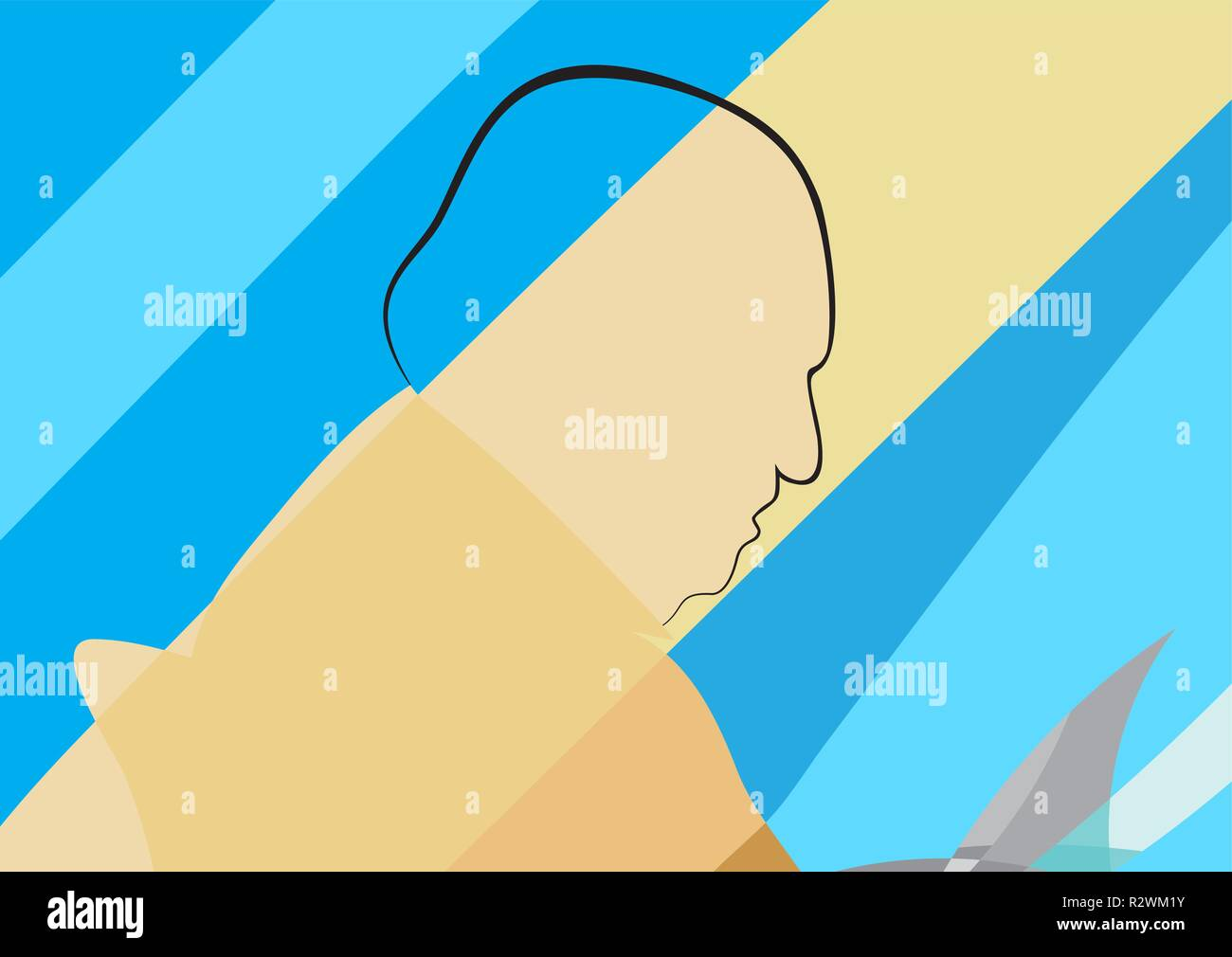 old man sitting and reading something - vector illustration - Stock Vector