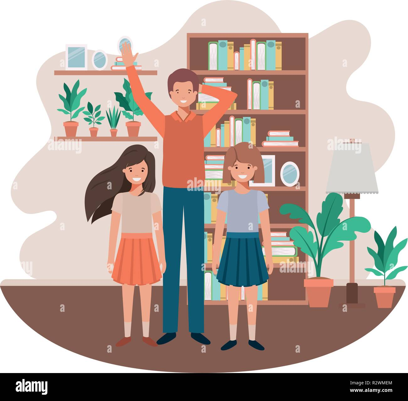 father and daughters in livingroom avatar character - Stock Vector