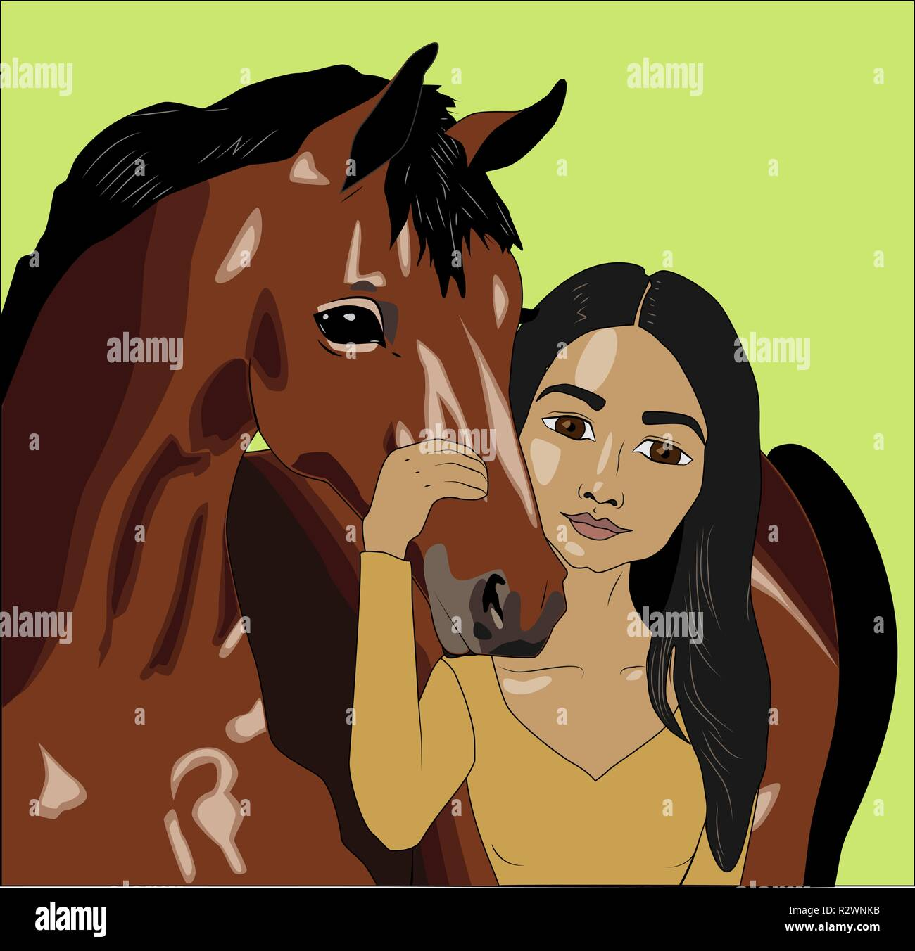 Native american woman with horse, vector illustration - Stock Vector