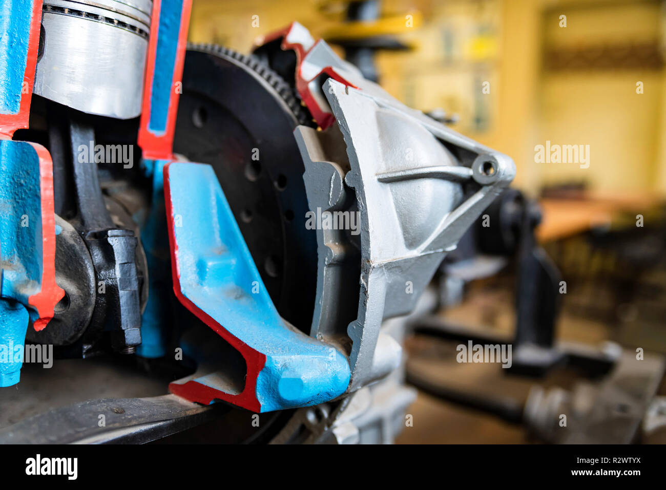 Detail of internal combustion engine in driving school Stock Photo