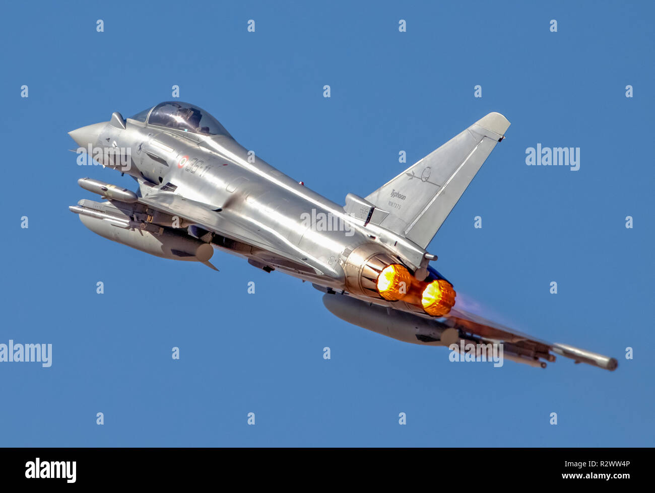 Italian Air force Eurofighter Typhoon in flight. A twin-engine, canard-delta wing, multirole fighter. Stock Photo