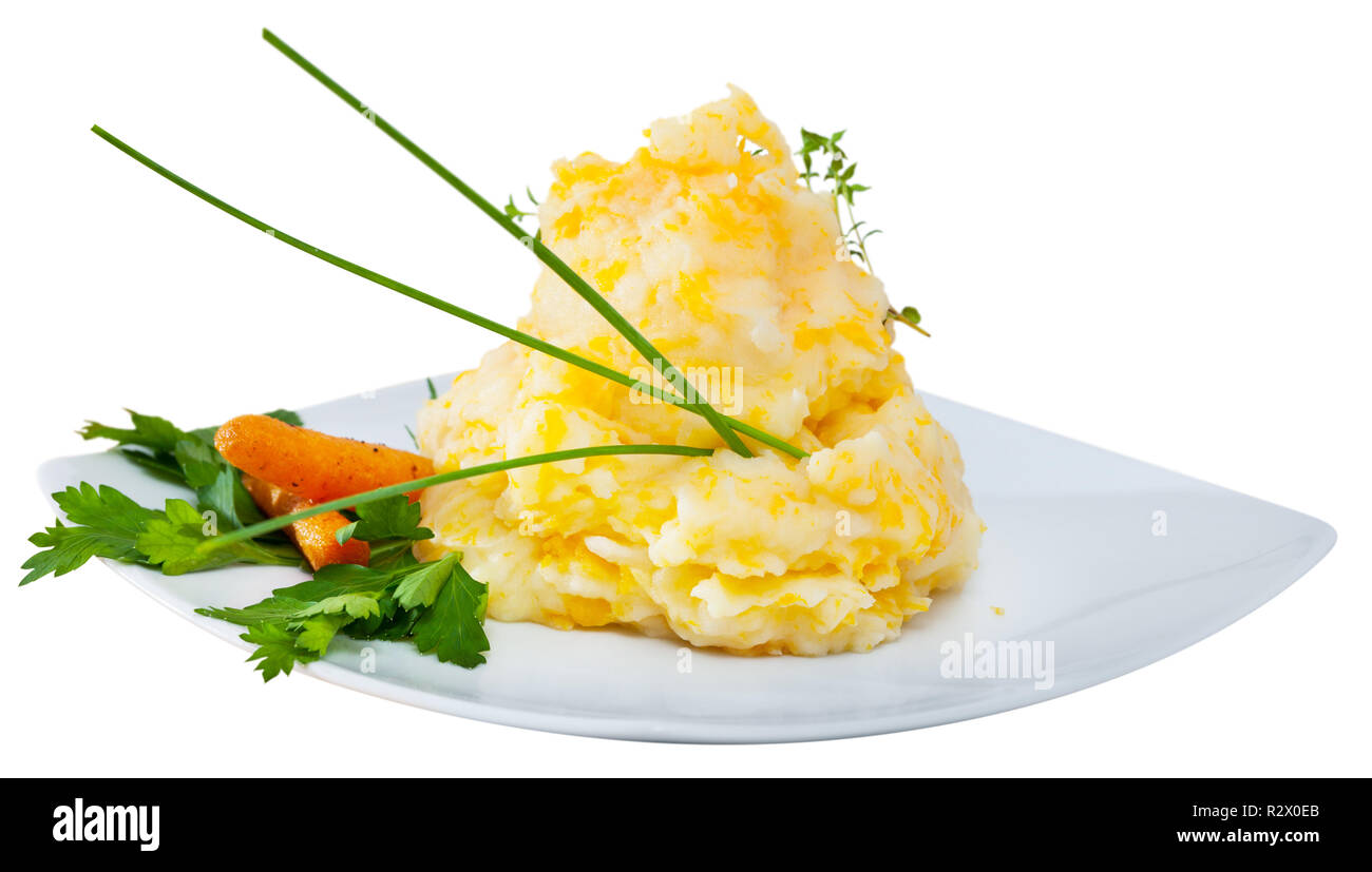 National Scottish dish Clapshot – potato puree with melted butter and turnips. Isolated over white background - Stock Image