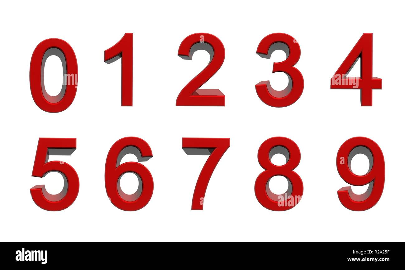 numbers from zero to nine - Stock Image