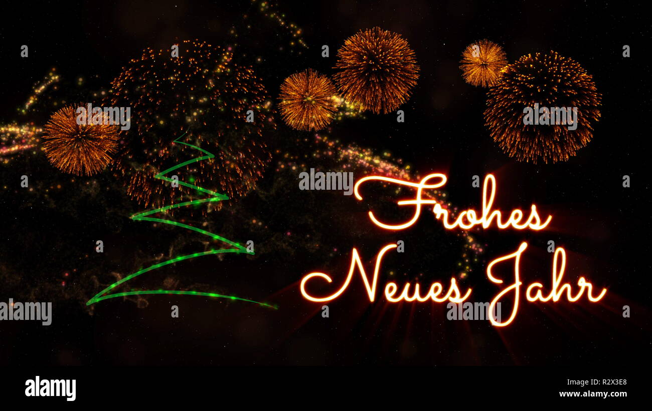 happy new year text in german frohes neues jahr over pine tree with sparkling particles and fireworks on a snowy background