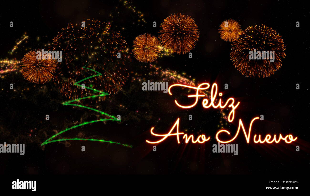 Happy New Year text in Spanish 'Feliz Ano Nuevo' over pine tree with sparkling particles and fireworks on a snowy background - Stock Image