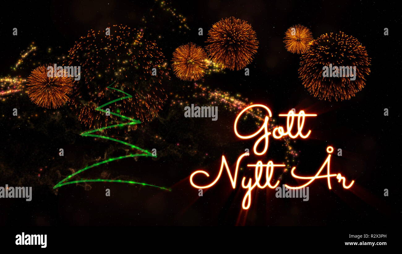 Nice Happy New Year Text In Swedish U0027Gott Nytt Aru0027 Over Pine Tree With Sparkling  Particles And Fireworks On A Snowy Background