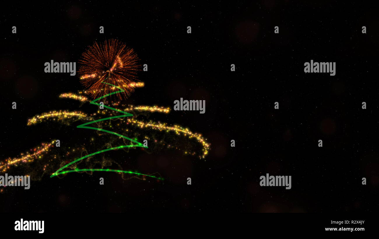 christmas new year theme contains pine tree fireworks and sparkling particles over snowy and cloudy dark background