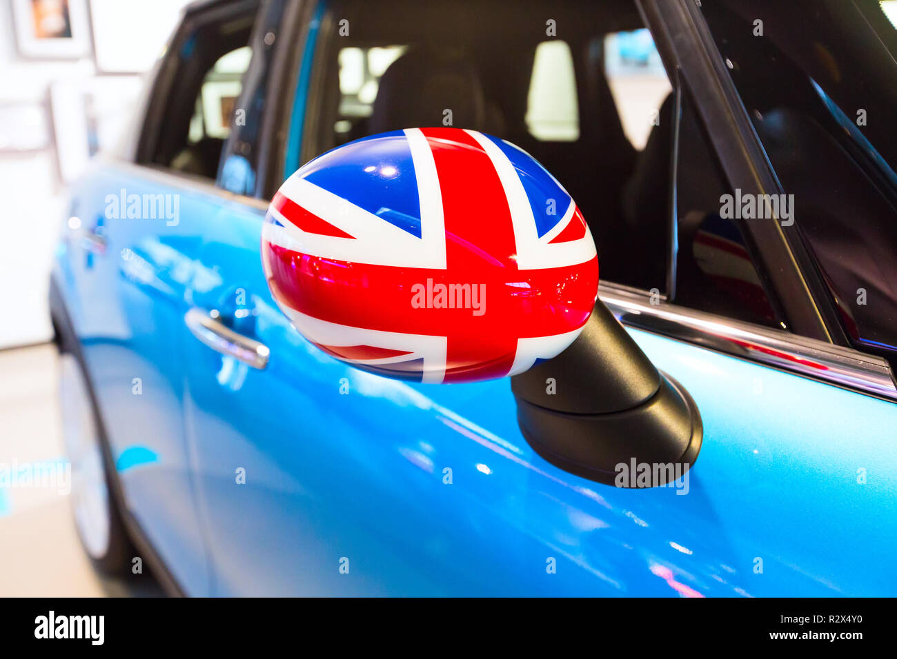 United Kingdom flag as a decoration of a car - Stock Image