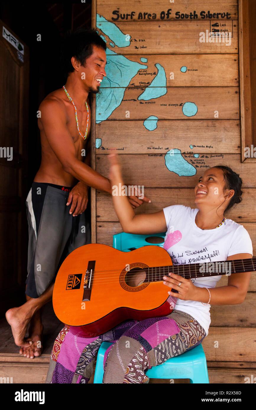 Hanging at Bintang Surf Camp in South Siberut, Indonesia. - Stock Image