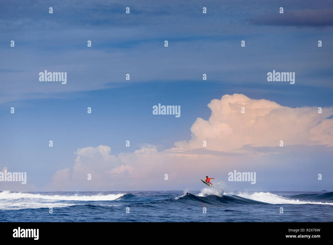 Remote reef break, 'John Candy's', in the Mentawi Islands, Indonesia. - Stock Image